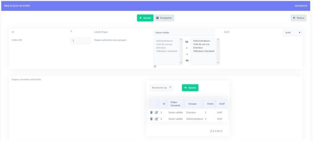 Workflow, le détail d'une étape